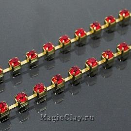 Цепочка со стразами 2,2мм Красный, цвет золото, 1м