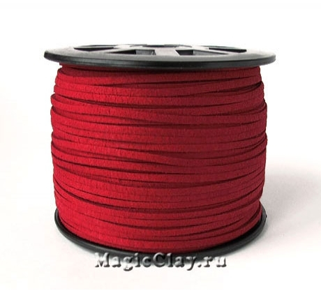 Шнур замшевый 3мм Красный Тёмный, 5 метров